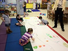 """story map -- draw a path down the middle of a large sheet of bulletin board paper. At one end of the path, write """"Once upon a time"""" & at the other end write """"The End"""" > walk down the path and retell the story"""