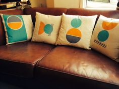 New hand printed original cushions by me! www.amylanyon.co.uk