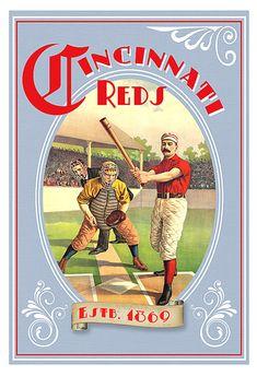 Cincinnati Reds Baseball 1869 Poster  Baseball by aswegoArts, $22.50