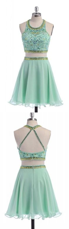 Mint Homecoming Dresses, Two Piece Homecoming Dresses, Classy Cute Mint Beaded Two Pieces Open Back Homecoming Dresses WF01-267, Homecoming Dresses, Cute Dresses, Two Piece Dresses, Mint dresses, Classy Dresses, Open Back Dresses, Cute Homecoming Dresses, Beaded dresses