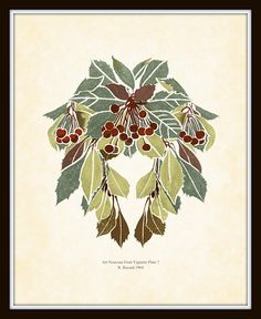 Art Nouveau Fruit Vignette Series Plate 7 Art Print 8 x 10 Arts and Crafts Mission Style Craftsman Home and Garden Wall Decor