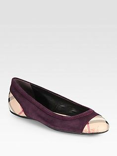 Burberry Highsmith Check Leather & Suede Ballet Flats