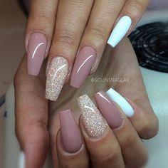 Long Coffin Nails. Blush + Glitter + White. So pretty! #nail #nailart