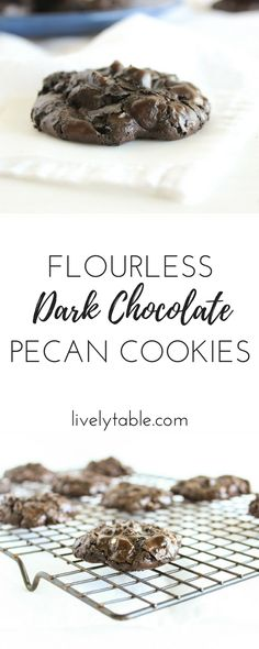 , flourless dark chocolate cookies studded with melty chocolate ...