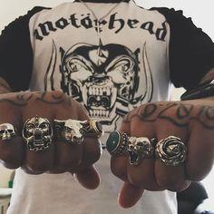 Our Smallest Evil Skull old school Warpig ring Bull ring Large Navajo @strangefruitlondon Bear ring and the Rose ring  #thegreatfrog #thegreatfrogla