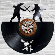 Pirates vinyl clock of the jack sparrow by VinylEvolution on Etsy