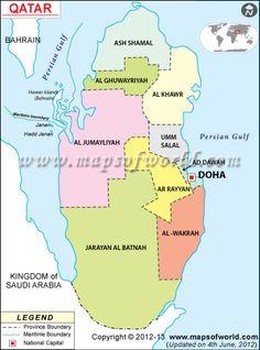 :::: ✿⊱╮☼ ☾ PINTEREST.COM christiancross ☀❤•♥•* :::: A map of Qatar.