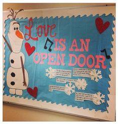 Love is an open door bulletin board, http://hative.com/creative-valentines-day-bulletin-board-ideas/