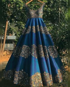 dresses indian sisters muslim Golden work on Gorgeous Blue Anarkali Gown Indian Wedding Gowns, Indian Bridal Outfits, Indian Gowns Dresses, Indian Fashion Dresses, Dress Indian Style, Indian Designer Outfits, Wedding Kurta For Men, Formal Wedding, Wedding Bride