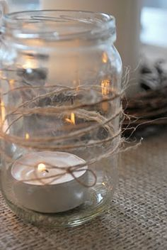 twine and tealights, this works well with the mason jar floral arrangements