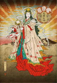 Amaterasu is the main Shinto Goddess. She is the Goddess of the Sun and Mother of all. Japanese Artwork, Japanese Painting, Japanese Prints, Folklore Japonais, Art Japonais, Amaterasu Omikami, Japanese Goddess, Creation Myth, Art Asiatique