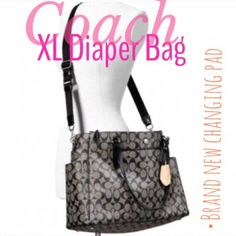 Coach Diaper Bag Coach XL diaper bag. Brand new changing pad- never used. Stylish bag for you and your new addition. Used only a couple times. Coach Bags Baby Bags