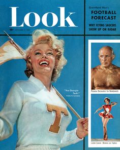 Marilyn Monroe, Pablo Picasso and Leslie Caron on the cover of Look magazine.