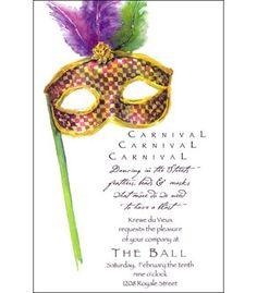 Harlequin Feathered Mask Invitation Image