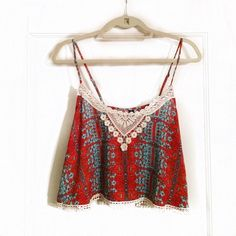 Tribal Print Crop Top Lord & Taylor's Design Lab printed crop top with crochet detailing **Never been worn** Lord & Taylor Tops Crop Tops