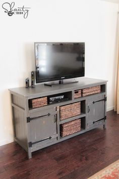 DIY Media Console Free Plans by Shanty-2-Chic.com!
