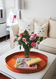 Olivia Palermo's home. There was a tray just like that on etsy this week too!