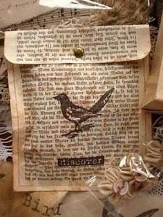 Create gift bags from old book pages - No instructions. But I would use a few pages glued together fro back and front. Back longer than front. Sew together with basting stitch. Put in gift. Or put potpourri in it.