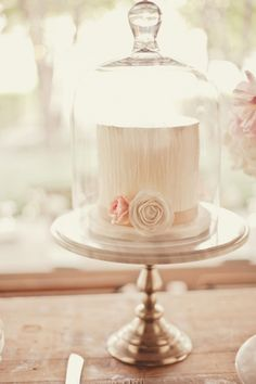 Pretty Pale Wedding Cake in Cute Display Dome