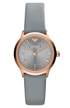 Emporio Armani Round Leather Strap Watch, 26mm available at #Nordstrom