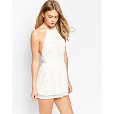 ASOS 90's Halter Romper in Lace ($51) ❤ liked on Polyvore featuring jumpsuits, rompers, cream, asos, white lace romper, white lace rompers, halter rompers and tall romper