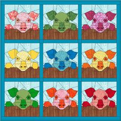 Maartje Quilts in Amsterdam: Farm patterns Paper Pieced Quilt Patterns, Barn Quilt Patterns, Applique Quilts, Farm Animal Quilt, Farm Quilt, Quilt Baby, Quilting Projects, Sewing Projects, Quilting Ideas