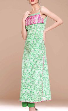 Buy Green Embroidered Cotton Lawn Kurti by Khaadi Lawn Collection 2015.
