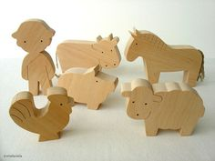 Farm Animal Set - Waldorf wooden toys - Farm animals and boy - Toy farm animals set