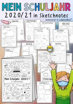 Mein Schuljahr 2020/21 - in Sketchnotes als Booklet / Büchlein. Best of des Schuljahresabschluss und des Corona Zeitkapsel Pakets.