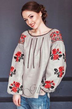 Ukrainian embroidered boho blouse vyshyvanka by GLAZDOV on Etsy Embroidered Clothes, Embroidered Blouse, Moda Rural, Mode Russe, Black Thread, Linen Blouse, Peasant Blouse, Mode Style, Linen Fabric
