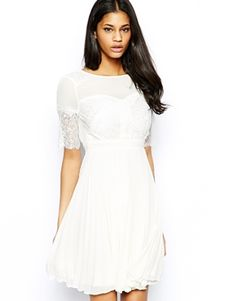 asos -- Elise Ryan Lace Skater Dress with Pleated Skirt  54.58 Engagement Party  Dresses 7993715ea