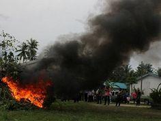 PHUKET, Thailand: Die Polizei von Thalang und Distrikt-Amtsträger haben einen Weg beschritten im Krieg gegen Drogen in Phuket durch das Verbrennen von mehr als 60 Kratom Bäumen in Srisoonthorn.  Obwohl die Kratombäume sind in Südostasien beheimatet, werde