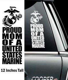 Proud Marine Mom Decal - 12 Inch - The Marine Corps Gift Shop