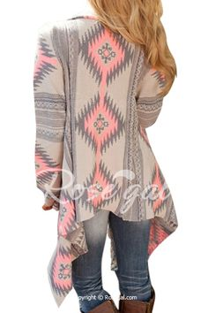 Casual Geometric Printed Long Sleeve Asymmetric Cardigan For Women ...