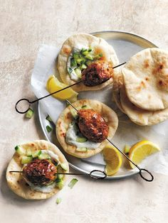 Perfect for a casual Sunday lunch, these lamb pitas are great for feeding a crowd.