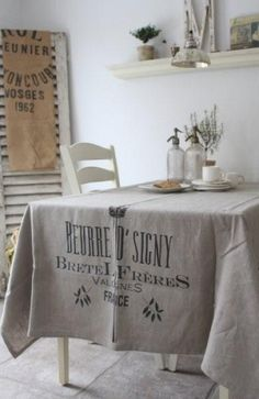 French Country Dining Area - The shutter in the corner with burlap is a cute idea, along with the old sack table cloth. French Decor, French Country Decorating, Rustic French, French Farmhouse, Farmhouse Chic, Country Farmhouse, Shabby Chic Decor, Vintage Decor, Shabby Chic Curtains