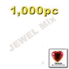 Flatback Rhinestones, Faceted Heart, 14mm, 1000-pc, Jewel Mix