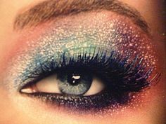 Makeup is an important element in theater and is also associated with costume design. I think the sparkly, iridescent eye shadows and bold lashes fits in perfect with Miranda's look.
