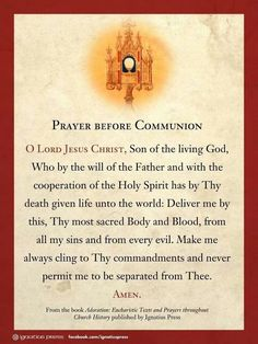 """Prayer before Communion. From the book """"Adoration: Eucharistic Texts and Prayers throughout Church History"""" Catholic Beliefs, Catholic Quotes, Catholic Prayers, Faith Prayer, Prayer Book, Sunday Prayer, God Prayer, Communion Prayer, Personal Prayer"""