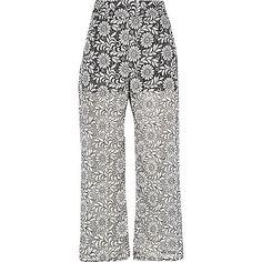 Black print lace trousers £48