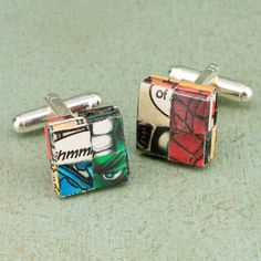 Paper folded cufflinks, comic design – Curate Gifts - Looking to add some superhero flair to your attire? #comics #fashion #forhim #superhero #style