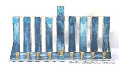 Level Pillars Stained Glass Menorah  by Abbe Sands