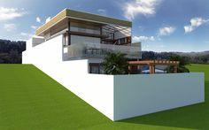 Projeto Casa Sobrado Terreno em Declive Arquitetura Moderna Estrutura Metalica Vidro em Campinas