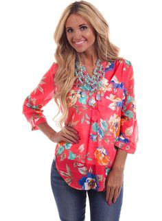 Lime Lush Boutique - Coral Floral Print Gold Button Accent Top , $42.99 (http://www.limelush.com/coral-floral-print-gold-button-accent-top/)