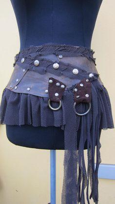 vintage inspired bohemian chocolate leather mini skirt by wildskin, $50.00