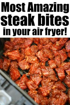 Steak bites in air fryer with a killer dry rub that's salty and sweet with a bit of a kick! High protein dinner idea inside tacos or over rice. #airfryerrecipes #ninjafoodirecipes #airfryersteakbites #steakbites #steakrecipe #tbonerecipe How To Reheat Steak, Dry Rub For Steak, Kids Meals, Easy Meals, High Protein Dinner, Frozen Steak, Air Fryer Steak, Dinner Recipes