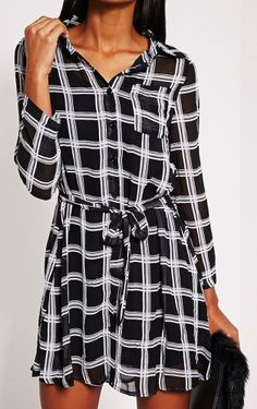 Casual Plaid Print Long Sleeve Belted Shirt Dress for Women