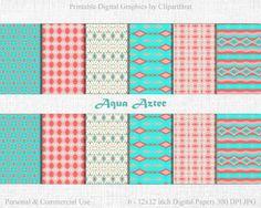 AQUA AZTEC Digital Paper Commercial Use Digital by ClipArtBrat
