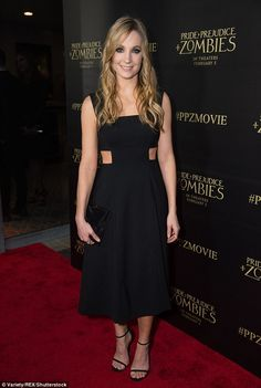 Elegant: Joanne rocked gothic chic for the vent, wearing a classy LBD with cut out panels #SeenInSuno