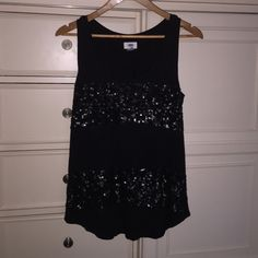 Black sequined tank Old navy Black sequined tank Old Navy Tops Tank Tops
